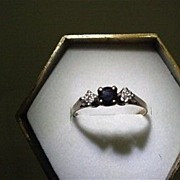 SALE Diamond and Sapphire Antique Ring Size 6 1/4