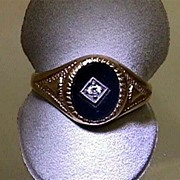 SALE Onyx and Diamond Antique Ring Size 10  $229