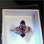 SALE Victorian Garnet Antique Ring Size 6 1/2  $339