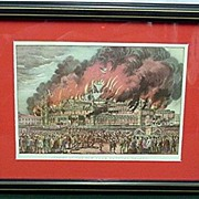 SALE Framed Print  The Burning of New York Crystal Palace