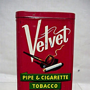 SALE Velvet Pipe & Cigarette Tobacco Tin