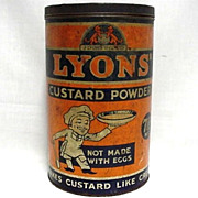 SALE Lyons Custard Powder  Advertising Tin