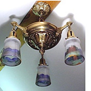 SALE Antique Chandelier with Three Drop Lights with Hand Painted Shades  $495