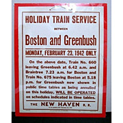 SALE New Haven Railroad Train Service between Boston and Greenbush Holiday Schedule