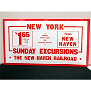SALE New Haven Railroad 1942 Sunday Excursion Advertising Sign