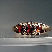 SALE Garnet Ring Three Matching Garnets  9 Carat Gold  Size 6 3/4  $225
