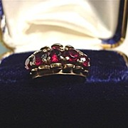 SALE Antique Ring  Five Matching Garnets 12 Carat  Gold Size 3 3/4   $299