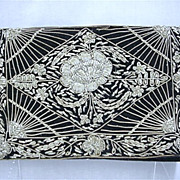 SALE Black Velvet Clutch Purse Gold and Silver Thread Design