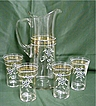 Antique Czech Glass Water or Lemonade Set  Pitcher and 4 Glasses