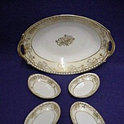 SALE Relish Set Nippon Porcelain White and Gold Pattern