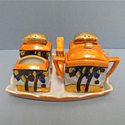 SALE Condiment Set Complete with Tray Nippon Porcelain Art Deco