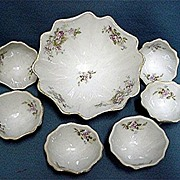 SALE Porcelain Nut Set Service for 6 Master Bowl and 6 Nutters