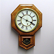 SALE Ansonia Antique Wall Clock Golden Oak Near Mint Condition
