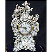 SALE Volkstedt Porcelain Clock Antique Circa 1860 - 1870 with Original Glass Dome and Wood Bas