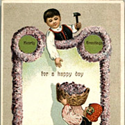 Vintage Post Card Greetings Children with Flower Garland