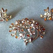 REDUCED Coro Brooch and Earring Demi with Citrine and Amber Rhinestones