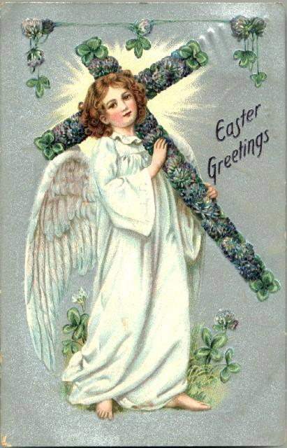 Vintage Post Card Tucks Easter Greetings Angel with Shamrock Cross