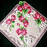 REDUCED Handkerchief Vintage Kimball Roses with Ribbons