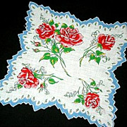 REDUCED Handkerchief Vintage Rose Floral Scalloped Jag