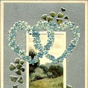 Vintage Post Card Valentines Greeting Forget-me-not Hearts with Scene