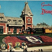 REDUCED Vintage Post Card Real Photo Disneyland Entrance with Train