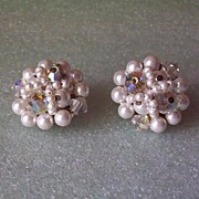 Vintage Faux Pearl and Crystal AB Bead Earrings