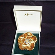 REDUCED Vintage Monet Gold Tone Rhinestone Flower Brooch with Original Box
