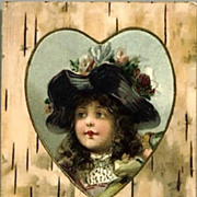 REDUCED Vintage Post Card Valentine Greetings Girl In Heart Cameo with Flowered Hat