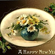 REDUCED Vintage Post Card Silk New Year Greetings Flowers in Vase with Holly