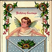 REDUCED Vintage Post Card Birthday Greetings Cherub with Gold Rings and Envelope