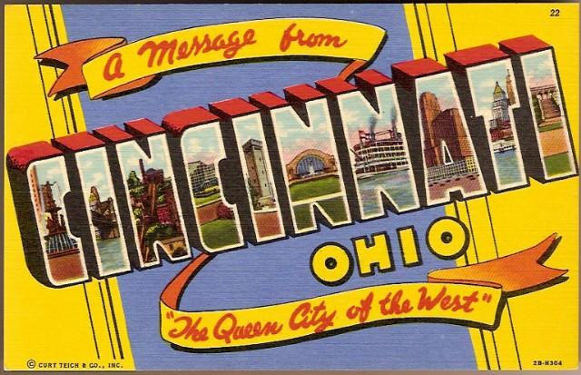 Vintage Post Card Large Letter Greetings Ohio