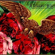 REDUCED Vintage Post Card Birthday Greetings Gold Eagle with Dark Pink Roses