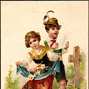 REDUCED Vintage Post Card Greetings Bavarian Couple with Roses and Cross