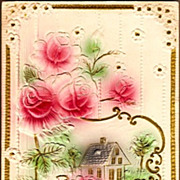 REDUCED Vintage Post Card Greetings Pink Roses with Cottage