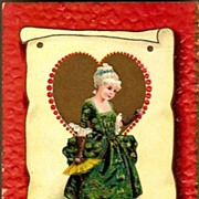 REDUCED Vintage Post Card Tucks Valentine Greetings Colonial Girl and Heart