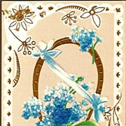 Vintage Post Card Birthday Greetings Basket of Forget-me-nots
