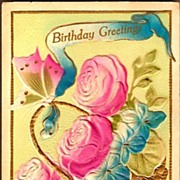 Vintage Post Card Birthday Greetings Basket with Butterfly and Roses
