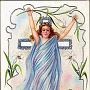 REDUCED Vintage Post Card Religious Easter Greetings Angel with Lilies and Flower Cross