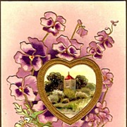 Vintage Post Card Greetings Pansies with Cameo Scene