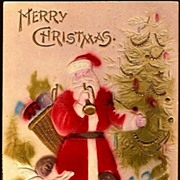 REDUCED Vintage Post Card Christmas Greetings Santa with Cherubs and Trumpet