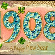 REDUCED Vintage Post Card New Year Greetings Year Date 1908, Forget-me-nots, Flowers