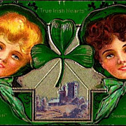 Vintage Post Card St Patricks Day Greetings Two Beautiful Ladies with Shamrocks