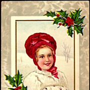 REDUCED Vintage Post Card Christmas Greetings Girl in Red Hat with Muff