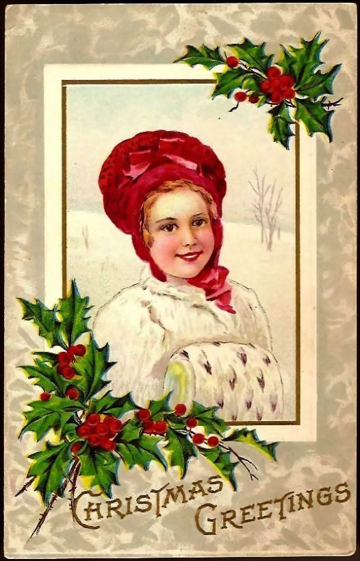 Vintage Post Card Christmas Greetings Girl in Red Hat with Muff