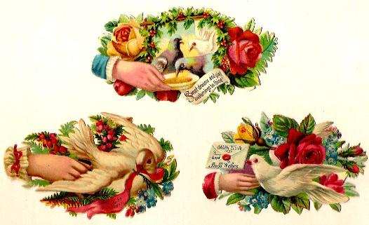 Vintage Victorian Die Cut Scraps Hands with Birds, Roses and Sentiments