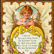 Vintage Post Card Valentine Greetings Cupid with Violets and Heart