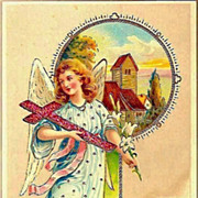 Vintage Post Card Easter Greetings Angel, Cross and Scene