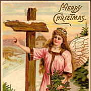 REDUCED Vintage Post Card Christmas Greetings Angel in Pink with Tree