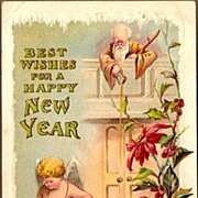 Vintage Post Card New Year Greetings Cherub with Father Time