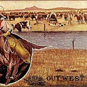 REDUCED Vintage Post Card Western Art Cowboy, Horse, Lasso and Cattle